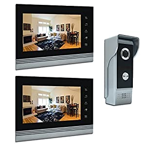 AMOCAM 7″ Video Intercom Systems, Aluminum Alloy/Acrylic Panel Doorphone, Wired Video Door Phone Doorbell Kits, Support Monitoring, Unlock, Dual-Way Door Intercom