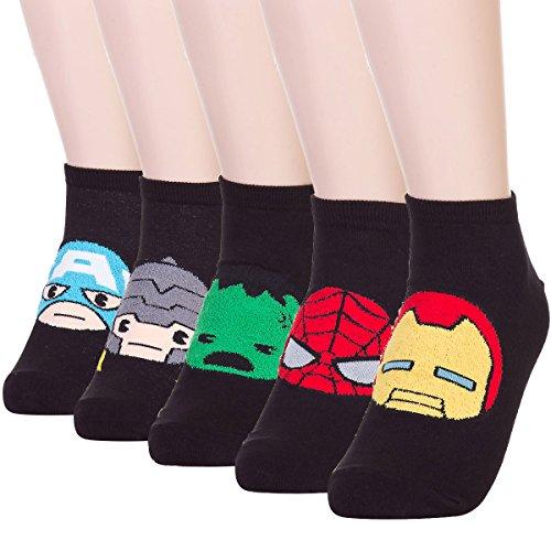 Superhero Character Fuzzy Sneakers Socks (5 (Plus Size Marvel)