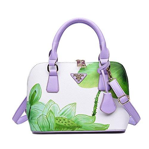 Bolsos Impresos Para Las Mujeres Shopper Bag Shell Bolsos De Lujo Elegantes Del Hombro Floral Green