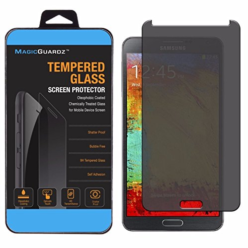 MagicGuardz®, Made for Samsung Galaxy Note 3, Privacy Anti-Spy Tempered Glass Screen Protector Shield, Retail Box