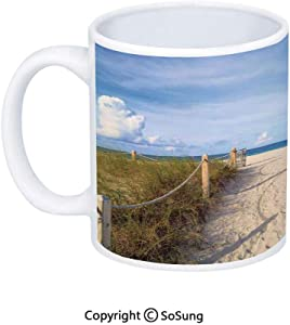 Beach Coffee Mug,Golden Sandy Beach South Miami with Fences American Style Holiday Login Relax Image,Printed Ceramic Coffee Cup Water Tea Drinks Cup,Cream Blue
