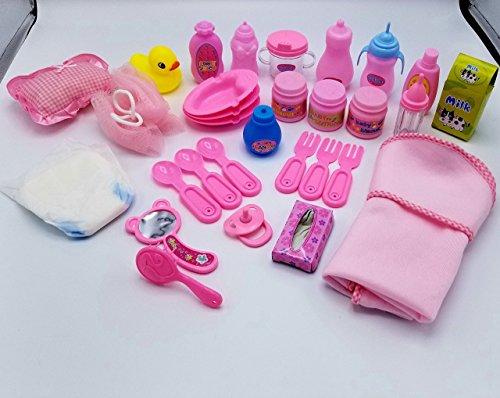 Doll Feeding Set & Bath Doll Accessories – 30 Pc. Set. – Doll Baby Bottles, Doll Utensils, Doll Hair Brush, Doll Pacifiers – For 18″ American Girl Dolls