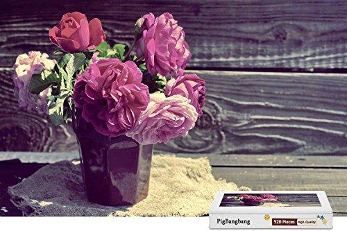 PigBangbang,Premium Wooden - Pink Peonies Vase Wood Board - 300 Piece Jigsaw Puzzle (20.6 X 15.1'')