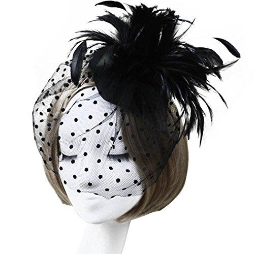 Aniwon Fascinator Hair Clip Hat Feather Veil Wedding Bridal Headwear for Women (Black) (Top Hats Fancy Dress)