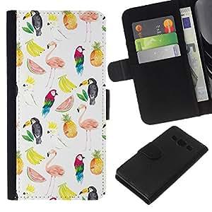 EJOY---La carpeta del tirón la caja de cuero de alta calidad de la PU Caso protector / Samsung Galaxy A3 / --Patrón de sandía Flamingo Loro Blanco