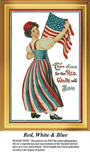 Patriotic Cross Stitch Patterns | Red, White & Blue (Pattern Only, You Provide the Floss and Fabric)