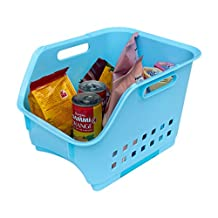 Stackable Storage Bin/Plastic Stacking Basket with Handles & Scoop Front - Stack Container Organizer for Closet,Pantry,Cabinet,Shelf Organization,12.6 by 10.3 by 7.9-Inch,1-Piece,Medium,Blue,Honla