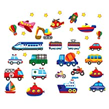 Winhappyhome Cartoon Spaceship Car Pattern Wall Decals for Kids Bedroom Living Room Removable Waterproof Home Decor Stickers