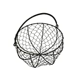CVHOMEDECO. Round Metal Wire Egg Basket Wire Gathering Basket with Handle Country Vintage Style Storage Basket. Rusty, 8'' Dia X 4-3/4''H.