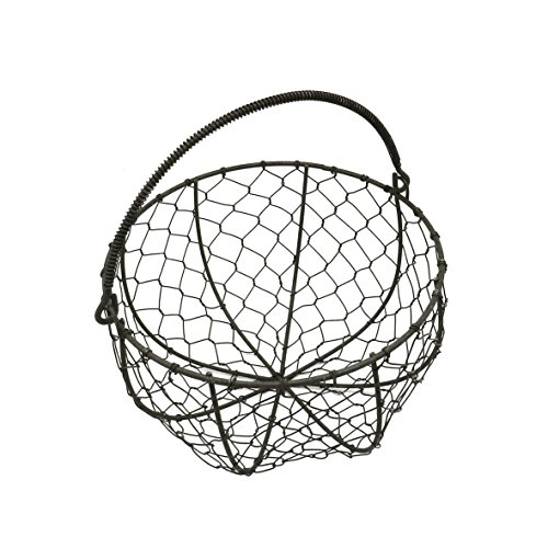 CVHOMEDECO. Round Metal Wire Egg Basket Wire Gathering Basket with Handle Country Vintage Style Storage Basket. Rusty, 8