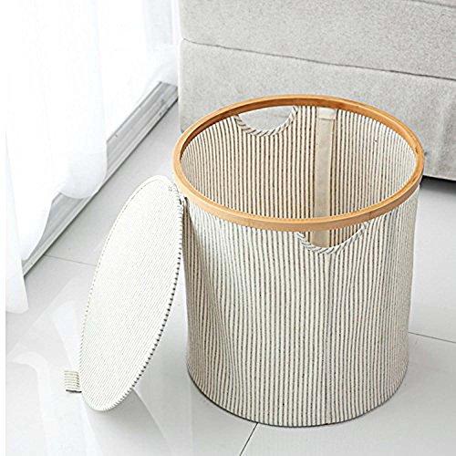 GOHIDE A Folding Laundry Basket Storage Round Barrel Large Wood Laundry Storage Basket Toy Clothes Storage Basket 38 x 38 cm XCX by GOHIDE (Image #4)