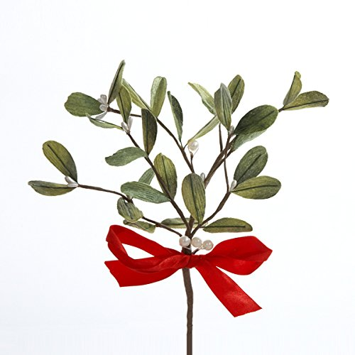 Kurt Adler Artificial Mistletoe Pick with Red Bow (Christmas Cheapest Trees Artificial)