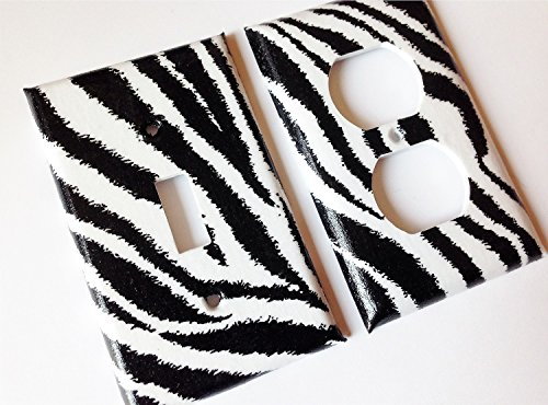 (Zebra Light Switch Plate Cover -All Sizes Offered)