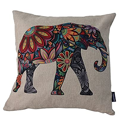 DolphineShow Unique Pillow Shams Printed Cotton Linen Sofa Decor Throw Pillow Cases Cushion Cover 18x18