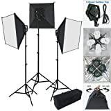 Linco Lincostore Photography Studio Lighting 2400 Watt Digital Video Continuous Soft Lighting Kit Including Flora X New Designed 4-Socket Light Head and Auto Pop-Up Softbox--Only 3 Seconds to Set Up