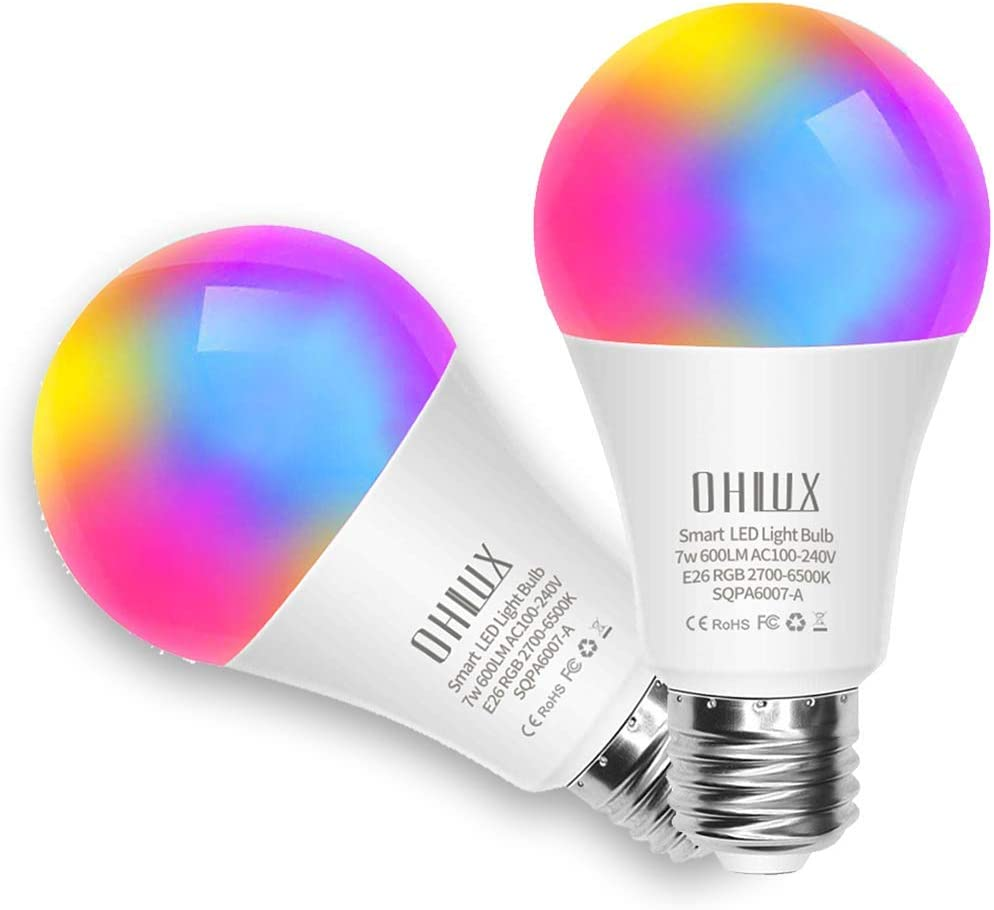 Ohlux Smart Wifi Led Light Bulb Works With Alexa And Google Home Assistant No Hub Required Rgbcw Multi Color Changing Bulb A19 E26 7w 60w Equivalent 2 Pack Amazon Com