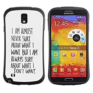 Suave TPU GEL Carcasa Funda Silicona Blando Estuche Caso de protección (para) Samsung Note 3 / CECELL Phone case / / Know What Want Wishes Quote Motivational /