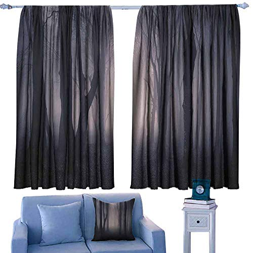 DONEECKL Bedroom Curtains 2 Panel Farm House Decor Path Through Dark Deep in Forest with Fog Halloween Creepy Twisted Branches Picture Light Blocking Drapes with Liner W55 xL39 Pink and Brown