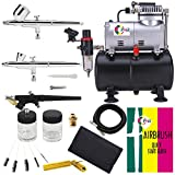 OPHIR 110V Pro Airbrush Compressor with Tank 0.2mm 0.3mm 0.8mm Air Brush & Cleaning Kit for Model Hobby Painting Body Tattoo Airbrush Set