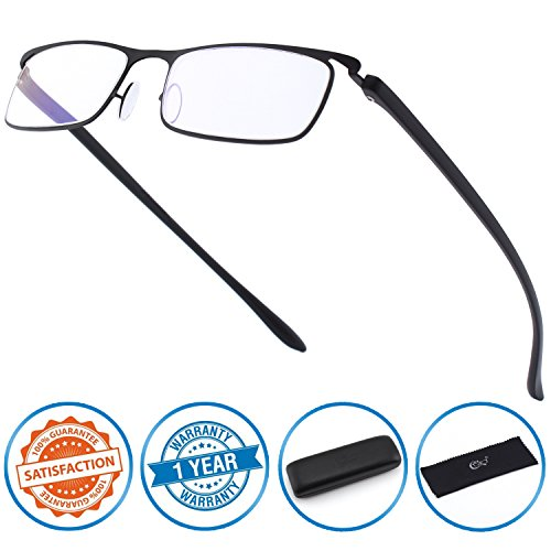 CGID Anti-Blue light Reading Glasses , Computer Readers with TR90 Frame for Men and - Piece Nose Glasses Pads For One