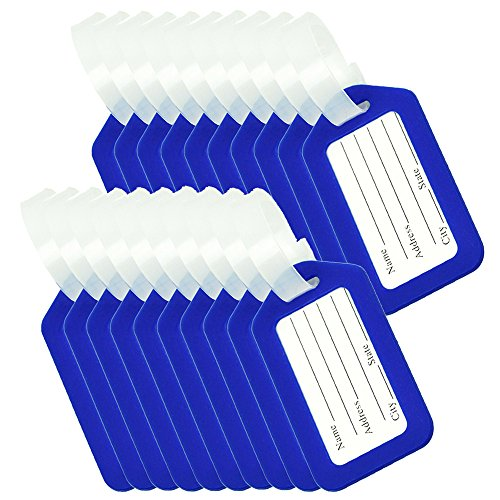 BlueCosto Luggage Tags Suitcase Tag Bag Labels Travel Accessories - Blue,20 Pack