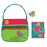 Stephen Joseph Girls Quilted Song Bird Purse and Wallet with Charm