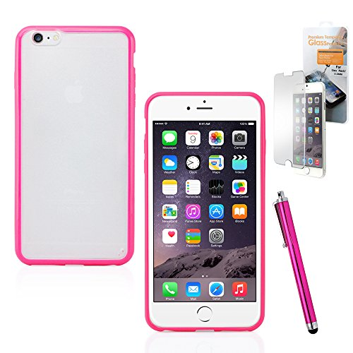 GEARONIC TM TPU Silicone bumper Frame with Matte PC Clear Hard back Skin Case Cover for Apple iPhone 6 Plus 5.5 with Free Tempered Glass Screen Guard - Hot Pink