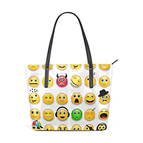 Pelle Per Tote Colore In Elaborazione Di Portafogli Borse Emoji Donne Muticolour Le Coosun Dell'unità Significa Faccine E Bag Giallo Borsa wgRqZInF