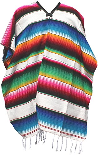 [Authentic Mexican Poncho (Multiple Colors Available) (White)] (Pancho Villa Costumes)