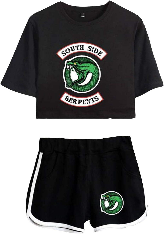 Camiseta y Pantalón Corto Riverdale Adolescente Chica Serpientes Camiseta de Manga Corta Verano Conjunto Deportivo para Niña y Mujere