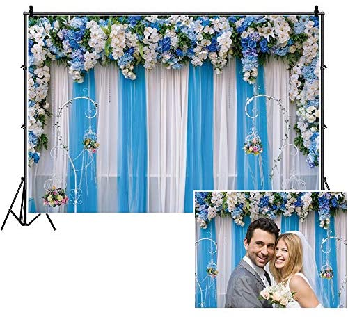 OERJU 7x5ft Wedding Backdrop White and Blue Flowers Curtain Floral Valentines Day Ceremony Background for Photography Baby Shower Decoration Banner Bridal Shower Supplies Wedding Banner