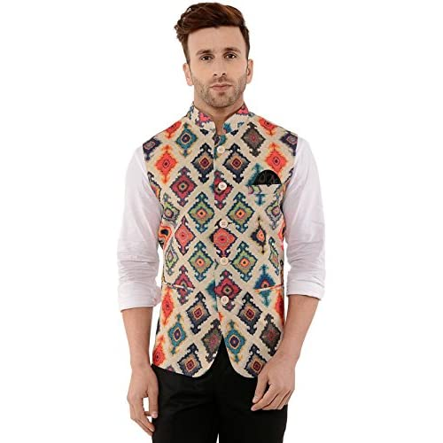 51poWaKjnqL. SS500  - Cenizas Casual Multicolor Nehru Jacket Neck Waistcoat for Men Slim fit