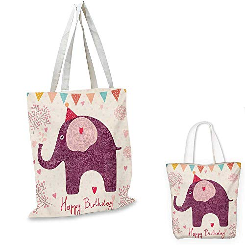 Kids Birthday canvas messenger bag Asian Paisley Motif Image with Purple Color Elephant Party Cone Hearts and Flags canvas beach bag Pink. 12