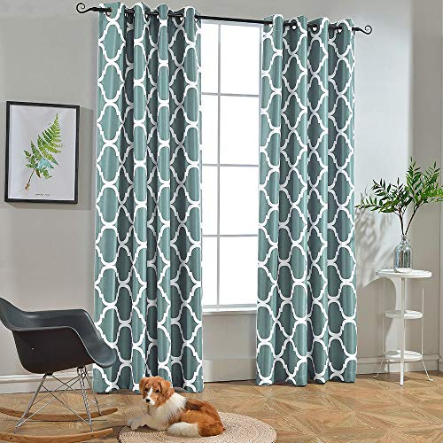 Melodieux Moroccan Fashion Room Darkening Blackout Grommet Top Curtains, 52 by 84 Inch, Teal (1 Panel) (Teal Room Brown)