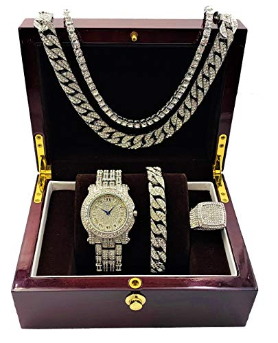 18' Round Box Chain - Fully Bling-ed Out Round Luxury Mens Watch w/Bling-ed Out Cuban Chain Bracelet, Cuban Necklace, Tennis Chain & Ring Size 8 - Silver - L0504BNTS(8)