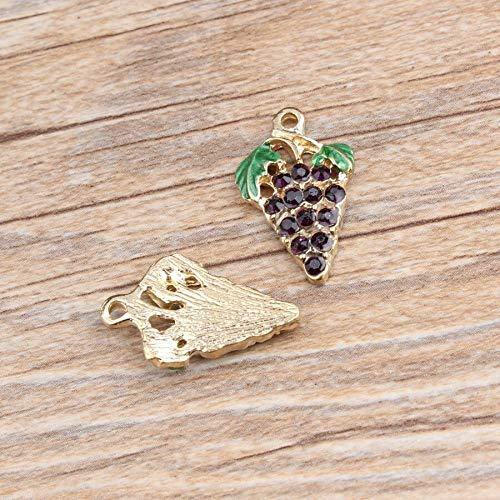 Handmade accessories - 10PCS/Lot Fashion Jewelry Zinc Metal Alloy Gold Color Tone Green Leaf Purple Rhinestone Grape Enamel Charm Pendants - Green Enamel Alloy Metal