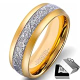 Mens Wedding Bands Tungsten Gold Rings Comfort Fit Imitated Meteorite Inlaid All Size 4-15 (8)