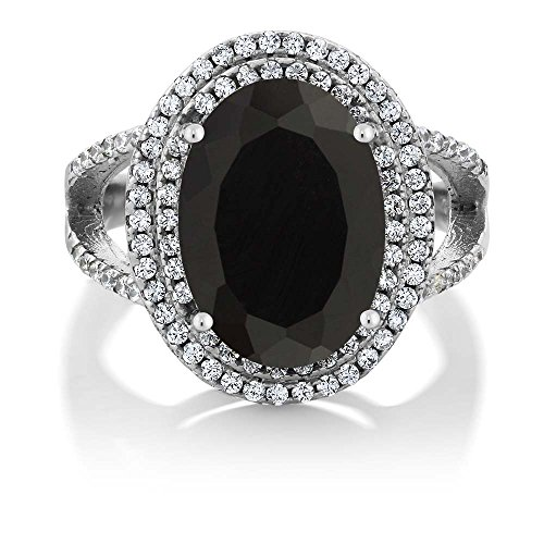 GemStoneKing 6.44 Carat 14X10MM Oval Natural Genuine Black Onyx Women's Ring Solid 925 Sterling Silver Cocktail Ring , Black and White , (SIZE 9)