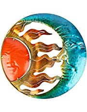 John's Studio Sun Wall Decor Outdoor Metal Moon Hanging Art Glass Religious Theme Decorations for Home, Pool and Patio