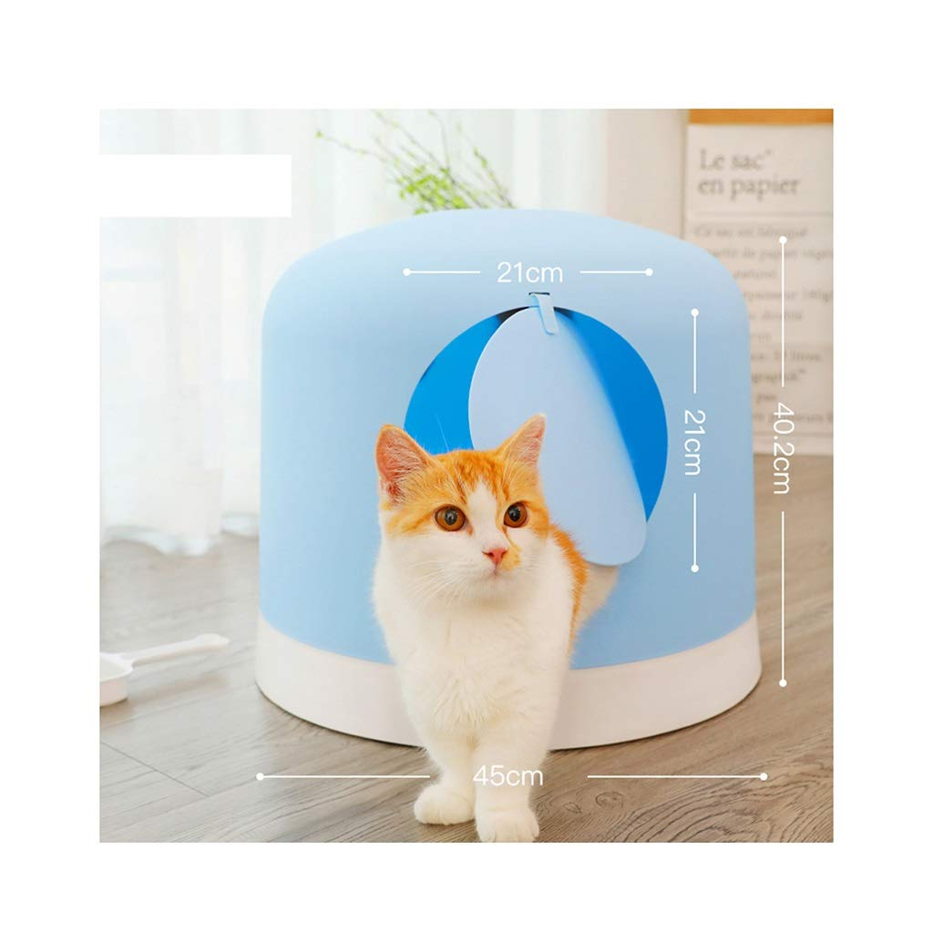 bluee QIQI Cat Toilet Cat Litter Box Fully Enclosed Deodorant Antispatter Cat Litter Pan 45  45  40.2cm (color   bluee)
