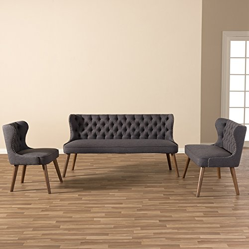 Baxton Studio 3 Piece Sydney Walnut Wood Button-Tufting With Nailheads Trim Livingroom Sofa Set, Dark Grey