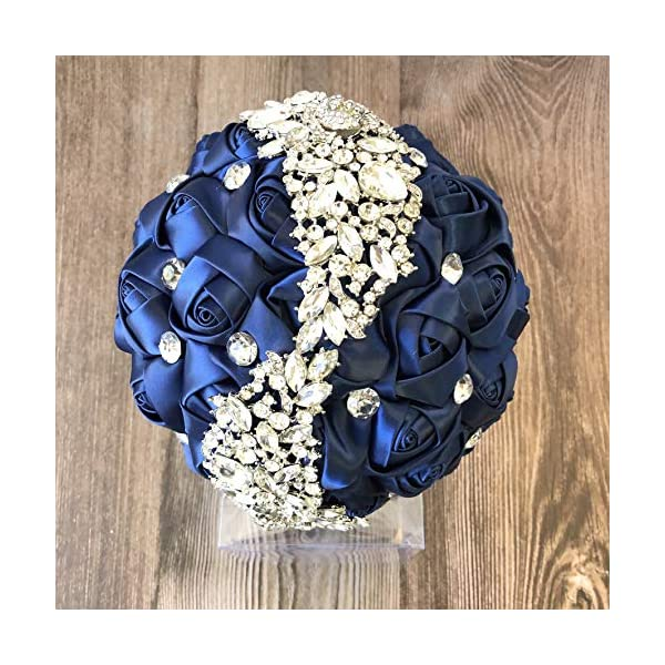 Abbie Home Silver Brooch Bouquet – Bride Wedding Bouquets Bridesmaids Satin Rose Flower with Sparkle Rhinestone Crystal Decoration (Navy Blue)