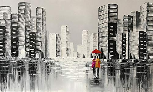 24x48Inch Hand-painted Oil Paintings Contemporary Building Landscape Knife Painting Home Decoration Abstract Artwork Canvas Art Large Framed Wall Painting Ready to Hang Office Meeting Room Decor