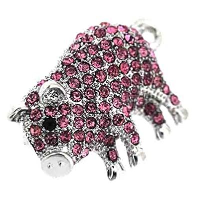 Brooches Store Fuchsia Pink Swarovski Crystal Pig with Curly Tail Brooch AzFhI