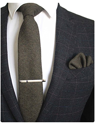JEMYGINS Olive Green Cashmere Wool Necktie and Pocket Square, Hankerchief and Tie Clip Sets for Men (Clip Green Tie Clip)