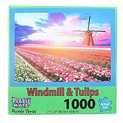 Puzzle Mate - Windmill & Tulips - 1000 Piece Jigsaw Puzzle: Toys & Games