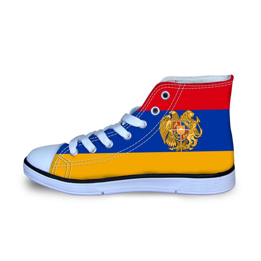 Canvas High Top Sneaker Casual Skate Shoe Boys Girls Armenia Flag National Emblem