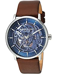 Kenneth Cole New York Mens Auto Automatic Stainless Steel and Leather Dress Watch, Color:Brown (Model: KC15104003)