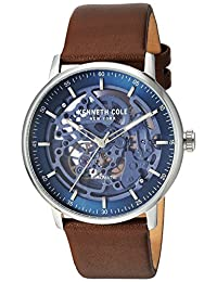 Kenneth Cole New York Men's 'Auto' Automatic Stainless Steel and Leather Dress Watch, Color:Brown