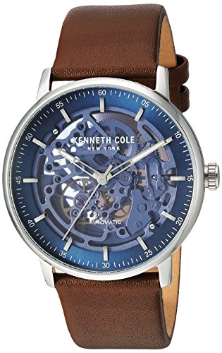 Kenneth Cole New York Men's 'Auto' Automatic Stainless Steel and Leather Dress Watch, Color:Brown (Model: KC15104003)